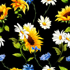 Fototapeta Słoneczniki Seamless pattern of sunflowers, chamomile (camomile), cornflowers on black. Vector - stock