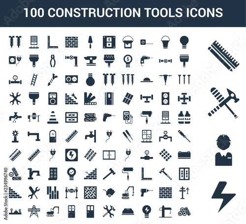 100 construction tools universal icons set with Flash