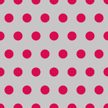 Seamless Background Of Red Polka Dots On Silver Gray