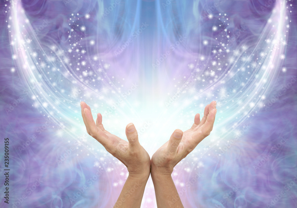 Fototapety, obrazy: Bathing in Beautiful Healing Resonance  - female cupped hands reaching up into an arc of shimmering sparkles on a glowing purple blue ethereal energy formation background with copy space