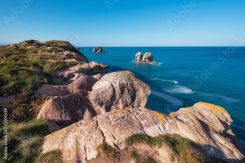 Cantabrian coastline landscape in costa quebrada, Santander, Spain.