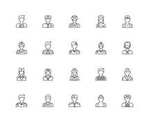 Collection Of 20 Professions Jobs Linear Icons Such As Soldier,