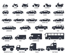Car And Motorcycle Type Icons ...