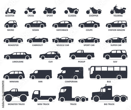 Fotografija Car and Motorcycle type icons set
