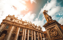 Sunset View At St. Peters Basilica In Vatican City