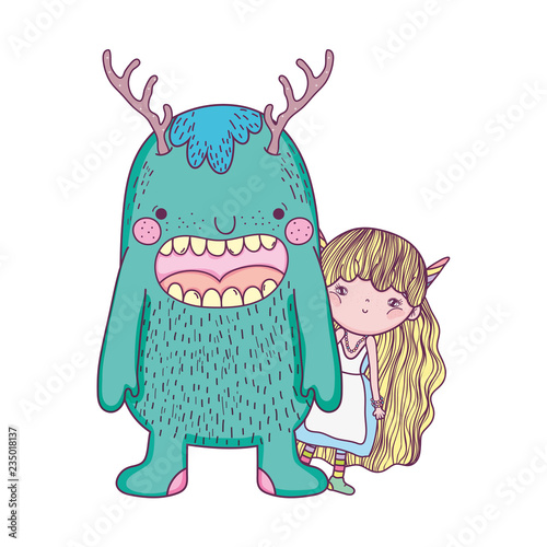 Fotografie, Obraz  little fairy with monster characters