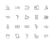 Collection Of 20 Magic Linear Icons Such As Poison, Dove, Mortar