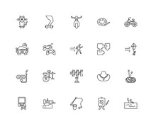 Collection Of 20 Hobbies Linear Icons Such As Snorkel, Swimming,