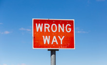Wrong Way Road Sign Isolated A...