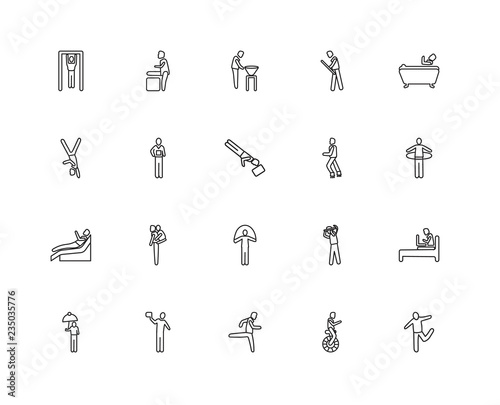Photo  Collection of 20 behavior linear icons such as Stick Man Running