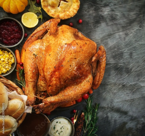 Fototapeta Thanksgiving feast frame - Turkey roast with sides cranberry sauce apple pie mas