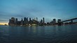 Sunset timelapse with the views of downtown Manhattan and financial district.