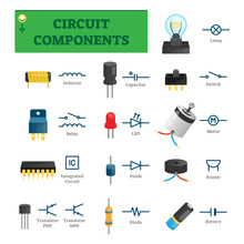 Circuit Components Vector Illustration. List With Isolated Electric Symbols
