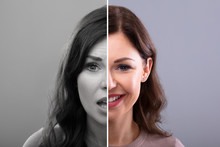 Woman Showing Sad And Happy Emotions