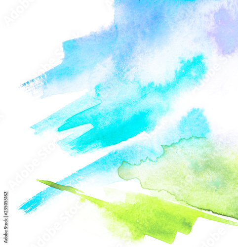 Watercolor Blue Green Background Blot Blob Splash Of