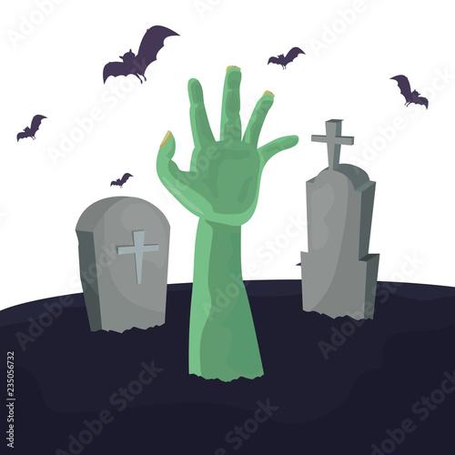 Photo halloween gravestone monster hand and bats