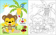 coloring book vector of little monkey cartoon with little friends