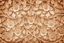 Pattern Of Flower Carved On Wo...