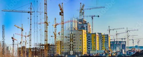 Fotografie, Obraz  Construction of new residential buildings against the sky