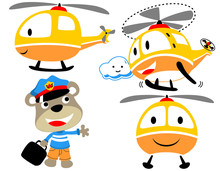 Vector Set Of Funny Helicopter...