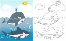 Coloring Book Vector With Whale And Shark In The Sea At Summer