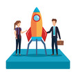 business couple with rocket startup