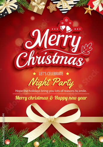 Fototapeta Merry Christmas Greeting Card And Party On Red Background Invitation Theme Concept Happy Holiday Design Template