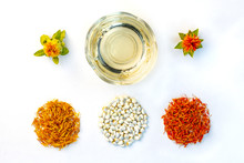 Yellow, Red Dried Petals, Infl...