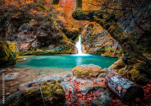 Fotografie, Obraz  lago y cascada del nacedero del rio urederra en navarra