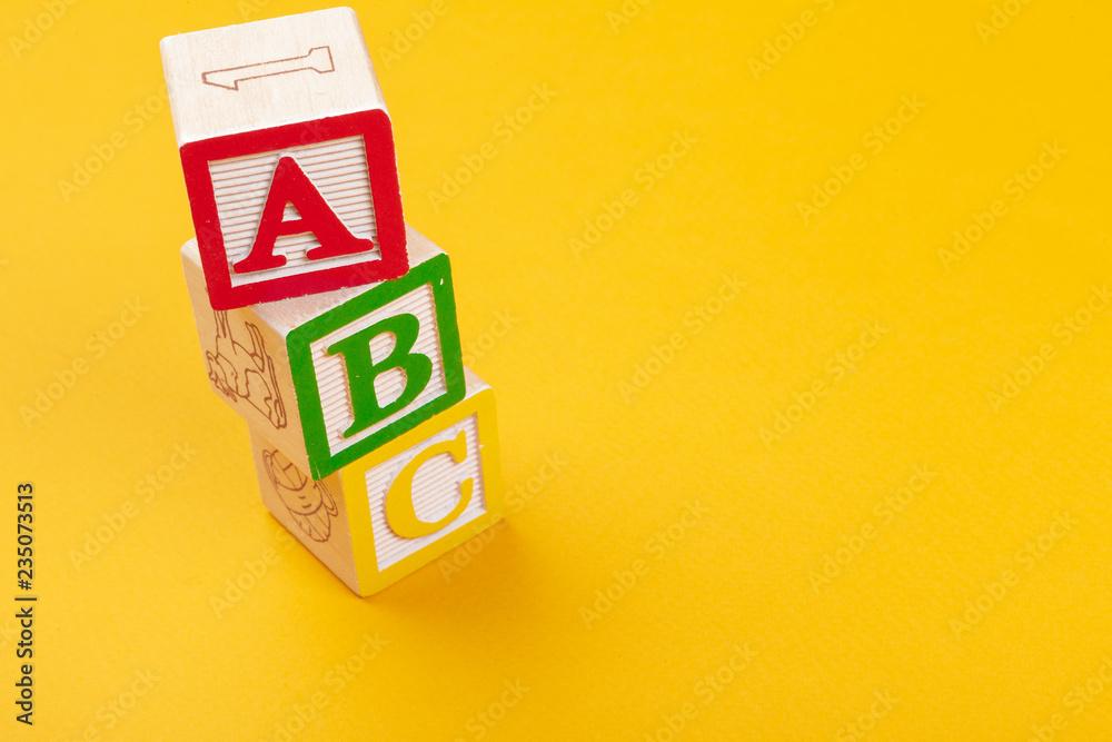 Fototapety, obrazy: Alphabet blocks ABC close up, education concept