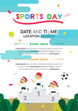 Sports Day Poster Invitation Vector Illustration. Japanese Sports Day With Kids On Sport Winners Pedestal.