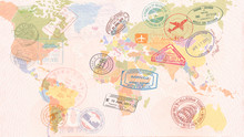 World Map With Visas, Stamps, ...
