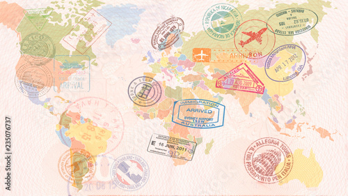 World map with Visas, Stamps, Seals. Travel concept