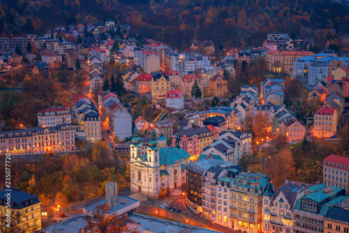 Photo  Beautiful view over colorful houses in Karlovy Vary, a spa town in Czech Republi