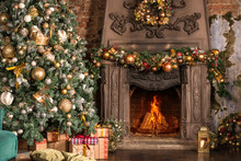 Christmas Room, Fireplace With Fire And Christmas Tree With Decorations