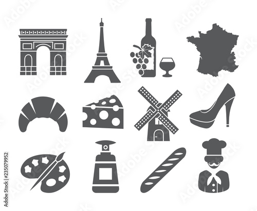 France icons set Wallpaper Mural