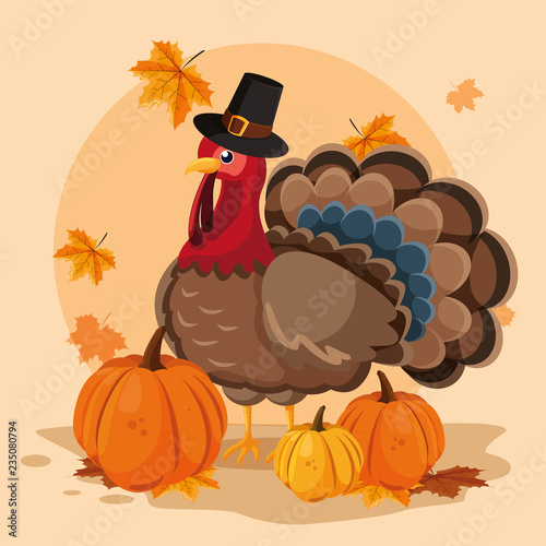 Photo turkey with pumpkins and hat pilgrim of thanksgiving day