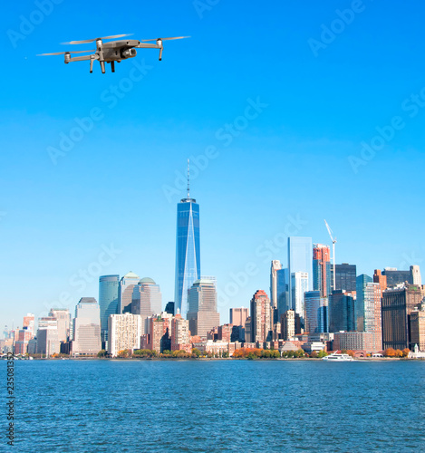 Poster New York City Drone flying over New York City