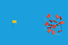 One Yellow Pin Flag Lying Against Many Red Pushpins On A Blue Background. Free Space For Advertising Text