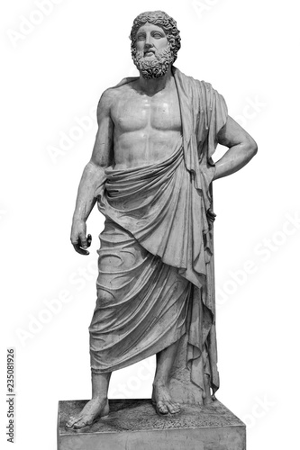 Marble statue of greek god Zeus isolated on white background Canvas Print