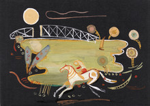 Abstarct Picture, Horse Man In Night