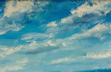 Fototapeta Do sypialni Abstract clouds blue sky oil painting background