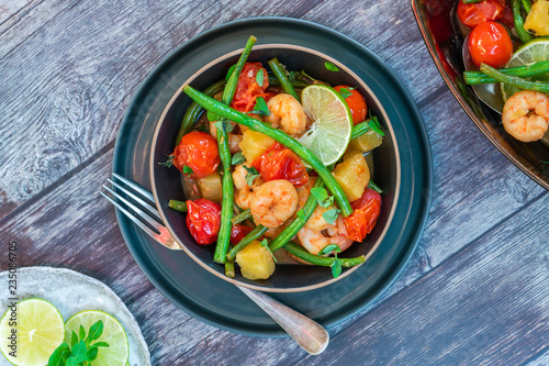 Thai prawns with pineapple and green beans - top view