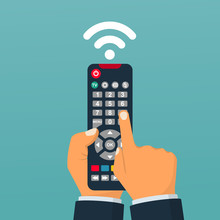 Remote Control Holding In Hand...