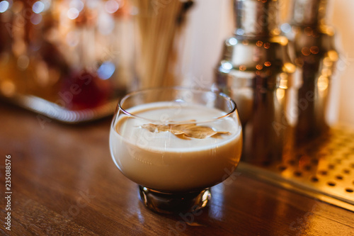 Poster Thee Hot spicy masala alcoholic drink, decorated with an autumn leaf