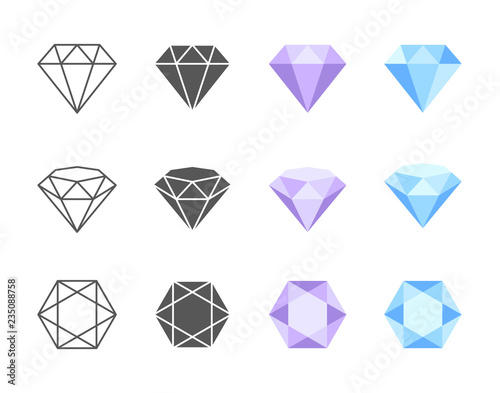 Photo Vector Diamond Colorful Icons