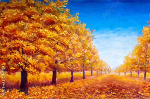 Poster Miel Autumn textural landscape oil painting - autumn trees, autumn park on a blue autumn background