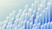 Geometric Background With Three Dimensional Cuboids. Abstract Landscape In Soft Blue Tones. Aspect Ratio 16:9. EPS10 Vector.