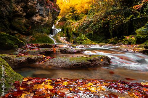 Autumn in the source of Urederra river in Urbasa mountain range, Navarre, Spain