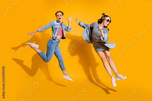 Fotografie, Obraz  Full legs body size portrait of two grinning cheerful charming o